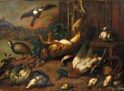 Manner of Melchior de Hondecoeter (Dutch, 1636-1695)      Still Life with Fowl and Game