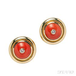 18kt Gold, Diamond, and Coral Earclips, Paloma Picasso for Tiffany & Co.