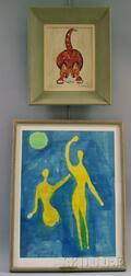 Two Framed Works:      Katherine Seeler (American, 20th Century), Cat Playing