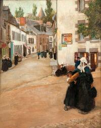 David Adolf Constant Artz (Dutch, 1837-1890)      A Street in Old Delft, Holland