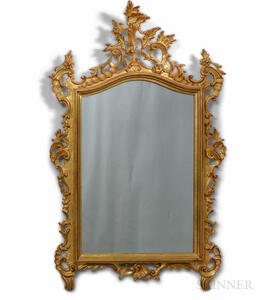 Rococo-style Gilt and Carved Wood Mirror