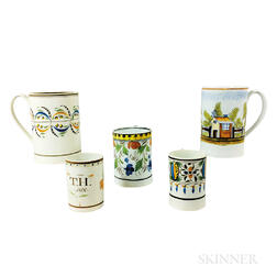 Five Staffordshire Polychrome Creamware Ceramic Mugs
