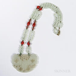 String of Beads with Jade Butterfly Pendant