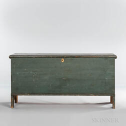 Light Green/blue-painted Pine Six-board Chest
