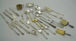 Group of Sterling Coin and Silver Plate Serving and Dresser Items