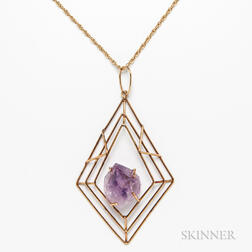 14kt Gold and Amethyst Geometric Pendant