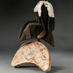 Militia Officer's Chapeau-bras and Plume with Original Pasteboard Box