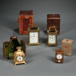 Four Time-only Carriage Clocks