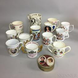 Thirteen Royal Commemorative Mugs