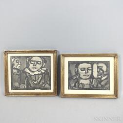 Three Prints:      Georges Rouault (French, 1871-1958) and Gabriel Dauchot (French, 1927-2005).