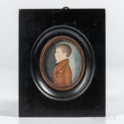 American School, Early 19th Century      Miniature Portrait of a Boy in a Brown Jacket