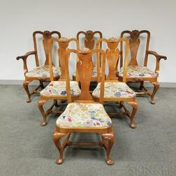 Set of Six Queen Anne-style Carved Mahogany Dining Chairs