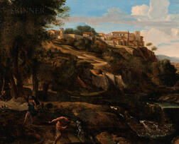 Manner of Nicolas Poussin (French, 1594-1665)      Arcadian View with Foreground Figure of Pan and a Rearing Goat