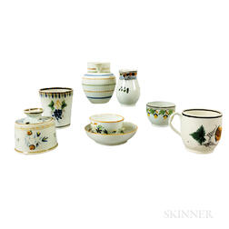 Eight Staffordshire Polychrome Decorated Creamware Ceramic Items