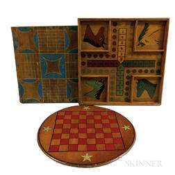 Three Polychrome Paint-decorated Game Boards.     Estimate $300-500