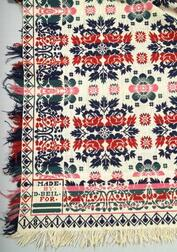 Woven Four-color Wool and Cotton Beiderwand Coverlet
