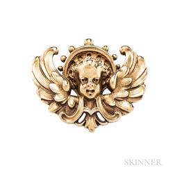 Antique Renaissance Revival Gold Brooch, Wiese