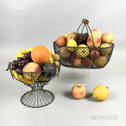 Large Group of Stone Fruit in Two Wire Baskets.     Estimate $400-600
