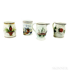 Three Staffordshire Polychrome Decorated Pearlware Creamers and a Mug