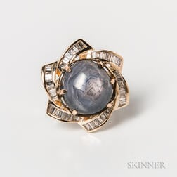 14kt Gold, Star Sapphire, and Diamond Cocktail Ring