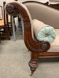 Classical Carved Mahogany Scroll-arm Sofa