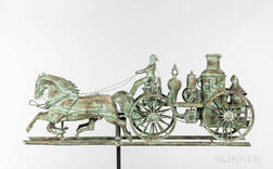 Rare Molded Sheet Copper and Zinc Steam Pumper and Horses Weathervane