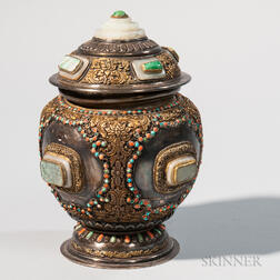Parcel-gilt Silver/Copper Repousse Covered Vessel