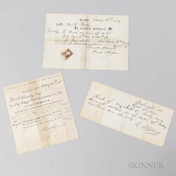 Three Mathew Brady Documents Relating to Selling the Gallery and Negatives
