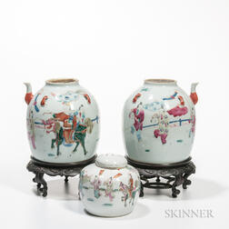 Pair of Enameled Water Pots and a Covered Jar