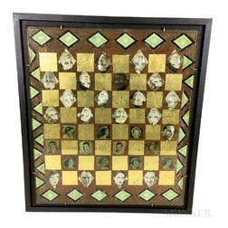 Framed Decoupage Glass Checkerboard