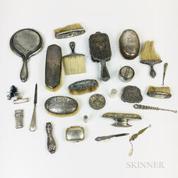 Group of Sterling Silver-mounted Vanity Items