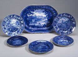 Five Blue Transfer Decorated Staffordshire Plates and a Platter