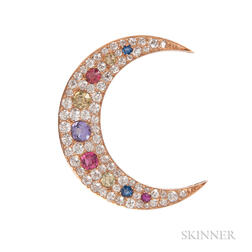 Antique Gold, Diamond, and Gem-set Crescent Brooch