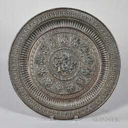 Silvered Repousse Dish