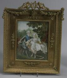 French Miniature Portrait on Ivory of a Noble Boy and Girl