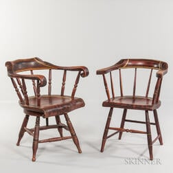 Grain-painted and Gilt-striped Swiveling Chair