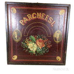 Painted and Lithographed Wood Parcheesi Board