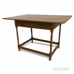 Country Stretcher-base One-drawer Tavern Table