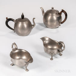 Two Pewter Sauceboats and Two Pewter Teapots