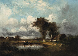 Jules Dupré (French, 1811-1889)      Cows Watering