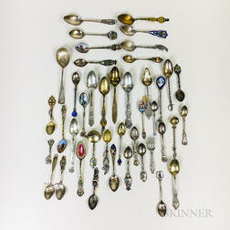 Group of Sterling Silver and .800 Silver Souvenir Teaspoons and Demitasse Spoons