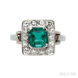 Platinum, 18kt White Gold, Emerald, and Diamond Ring