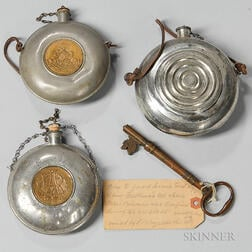 Two G.A.R. Canteen Flasks, a Small Bulls-eye Canteen Flask, and a Key to the Guard House at Fort McHenry