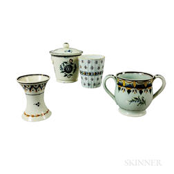Four Staffordshire Polychrome Decorated Pearlware Vessels