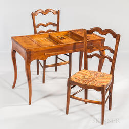 French Provincial Game Table and Two Side Chairs