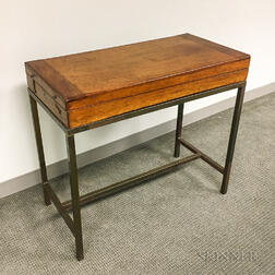 Campaign Mahogany Games Table and Modern Brass Stand