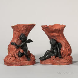 Pair of Rosso Antico and Black Basalt Figural Vases