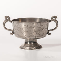 Early Dutch Pewter Brandy or Broth Bowl