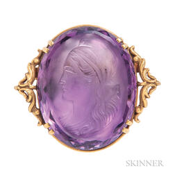 Antique 14kt Gold and Amethyst Cameo Cuvee Brooch