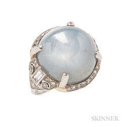 Platinum and Star Sapphire Ring